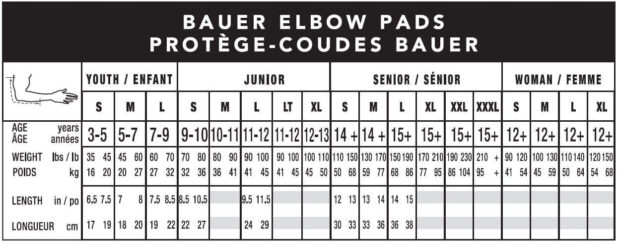 Gloves & Elbow Pads Sizing Guide - South Windsor Arena