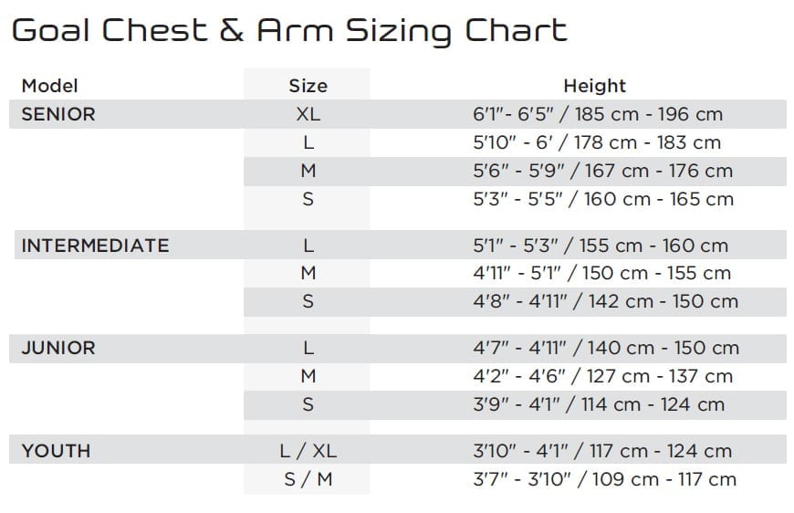 Goalie Chest Arm Sizing Guide South Windsor Arena