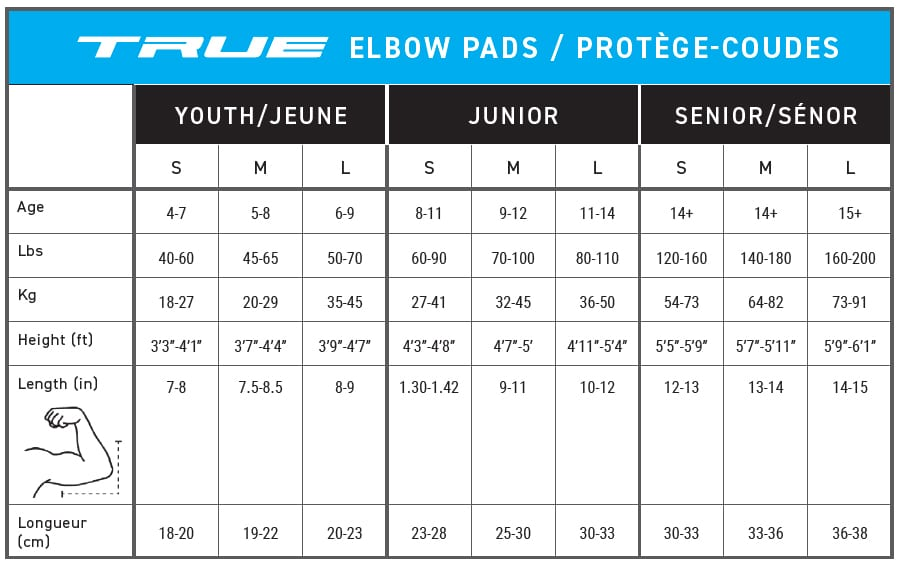 True Elbow Pads Sizing Guide