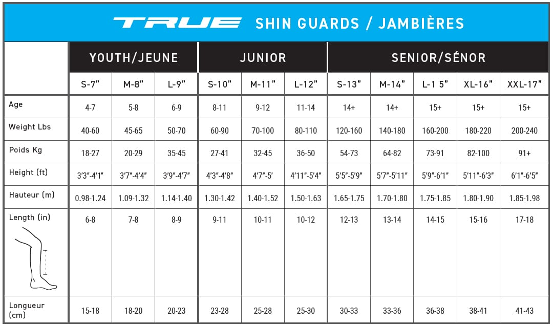 True Hockey Shin Guard Sizing Guide